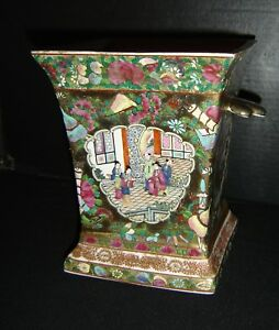 Antique Chinese Famille Rose Planter With Qianlong Apocryphal Mark Court Scenes