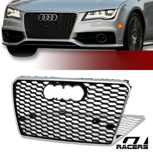 Sale For 2012 2014 Audi A7 C7 Black Chrome Rs Type Mesh Front Bumper Grille