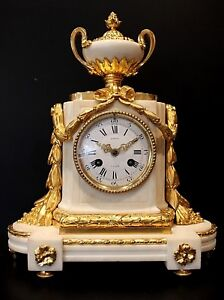 19th Century French White Marble And With Gilt Bronze Ormolu Clock C1870