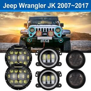 7inch Cree Led Headlight 3 5 Turn Signal 4 Fog Light For Jeep Wrangler Jk Us