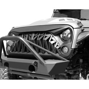 For 07 18 Jeep Wrangler Jk Jku Grill Front Shark Grille Matte Black Abs