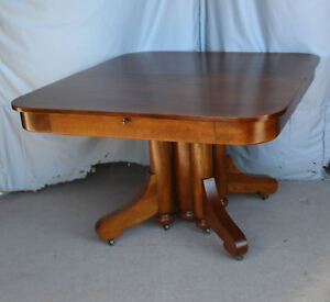 Antique Square Oak Dining Table With Four Leaves Robbins Leaves Store Inside
