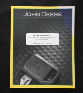 John Deere 4200 4300 4400 870 855 955 Tractor 410 420 Loader Operators Manual