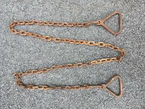 Antique Primitive Chain Tool W Triangle Attachment Ends 8 Long Hand Forged