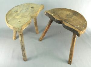 Antique Near Pair Of Primitive Three Leg Milking Stools Chairs Hand Made