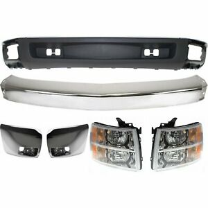 Bumper Kit For 2007 2008 Chevy Silverado 1500 Front With Chrome Bumper End 6pc