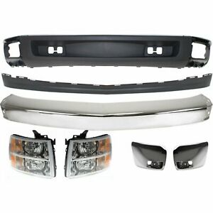 Bumper Kit For 2007 2008 Chevy Silverado 1500 Front For All Cab Types 7pc