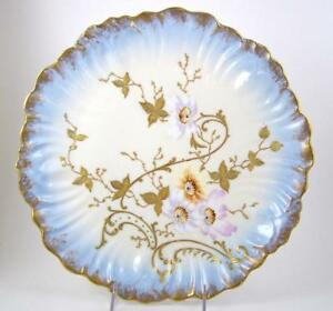 Antique Limoges China Charger Plate Hand Painted Pink Yellow Flowers Gilt Enamel