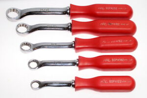Mac Tools Red Handles Bopa 5pc Sae 12pt Offset Wrench Set nice Condition