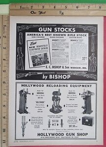 1950 HOLLYWOOD GUN SHOP ammo reloading equipment Vtg Magazine Print Ad 10163