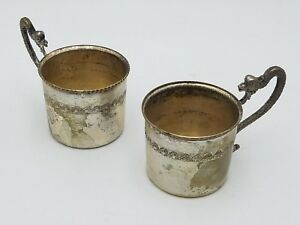 2 Pc Silver Plate Baby Cup Snake Handle Silverplate Doll House Mini Mug Italy