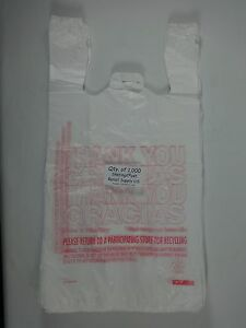1000 Qty Thank You Gracias Carry out Plastic T shirt Bags Carry 11 5 X6 X 22