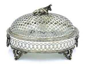 Continental Victorian Silver Plate Opaline Butter Dish W Cow Finial