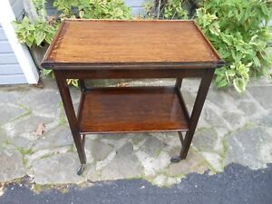 Vintage Two Tier Solid Oak Tea Cart Tea Trolley Twist Top Game Table F England