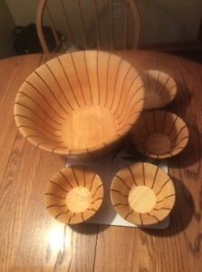 Vintage Dansk Int Designs Thailand Exotic Wood Salad Bowl Serving Bowl Set