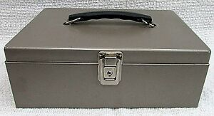 Industrial Steel Old Tan Metal 4x8x11 Heavy Strong Cash File Box Toolbox Free Sh