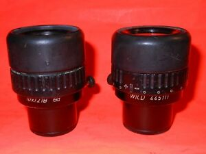 Pair Of Leica 445111 Wild 10x 21b Microscope Eyepieces qty 2