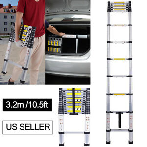 10 5ft 11 Step Aluminum Multi purpose Telescopic Ladder Extension Foldable Duty
