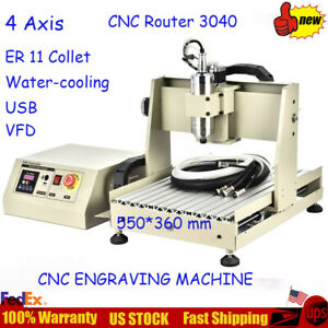 Usb 4 Axis 3040 Cnc Router Engraver Drilling Milling Machine 800w Vfd 3d Cutter