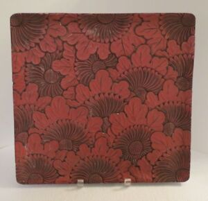 Antique Chinese Cinnabar Red Black Lacquer Tray Platter 15 X14 Chrysanthemums