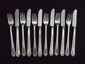 Silverplate 6 Grill Knives 6 Grill Forks Ancestral Pattern 1924 By 1847 Rogers