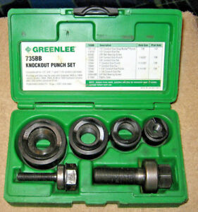 Greenlee 735bb Ball Bearing Conduit Hole Knockout Punch Tool Set Nice