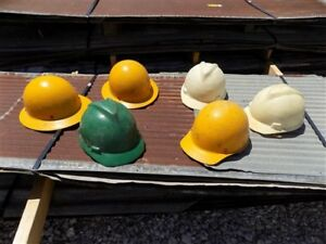 6 Plastic Hard Hats Helmets Vintage Safety Construction Protective Headgear
