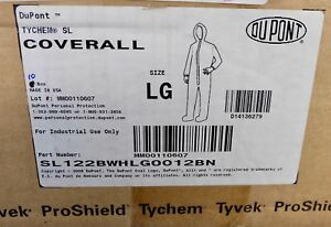 X10 Dupont Tychem Sl Coverall Size Lg Protective Suit Sl122bwhlg0012bn White