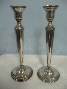 Pair Of Vintage Tall Sterling Silver Weighted Candlesticks