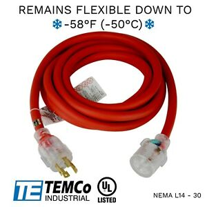 Temco 15ft Extreme Weather Generator Cord Red Nema L14 30 125 250v 30a Ul