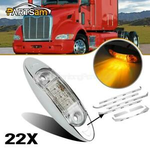 22x Clear amber Side Marker Clearance Light 3led For Peterbilt Cab Sleeper Panel