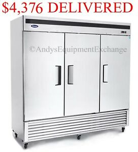 Atosa Three 3 Door Commercial Restaurant Freezer On Casters Stainless In And Out