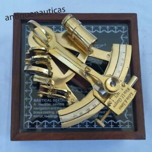Decor Christmas Gift Solid Marine Office Desktop Brass Sextant With Rosewood Box