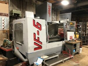 Used Haas Vf 6 50 Cnc Vertical Mill 1997 64 32 30 Tsc Probes Cat 50 Auger Pc