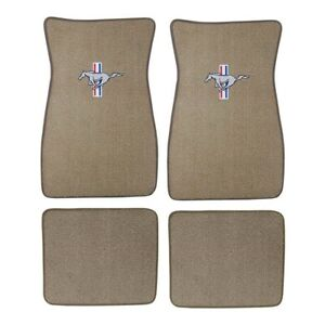 Acc Floor Mats Silver Running Horse Parchment 1965 1973 Mustang