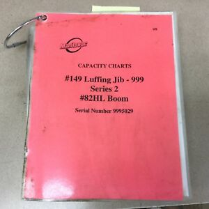 Manitowoc 999 Lift Crane Luffing Jib Load Capacity Charts Guide Operation Manual