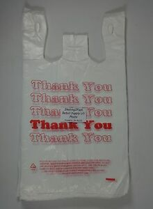 500 Qty Thank You T shirt Bags Plastic 11 5 X 6 X 21 Retail Shopping