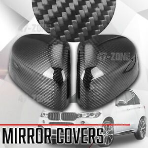 For 2014 17 Bmw X5 F15 Black Real Carbon Fiber Side Mirror Cover Replacement