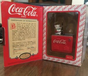 NIB 1997 Coca Cola Enesco Always Cool With Coke Pop Out Bear In Cooler Ornament