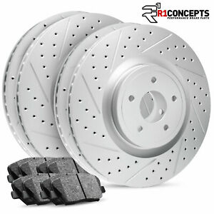 For 2015 2018 Acura Tlx Full Kit R1 Carbon Geomet Drill Slot Brake Rotors Pads