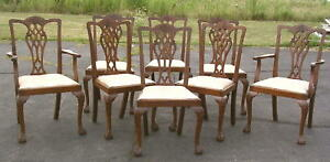 8 Matching Solid Mahogany Chippendale Dining Chairs Hand Carved 1930 S England