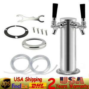 Polished Stainless Steel plastic Double Tap 76mm Tower Diameter Draft Beer Tower