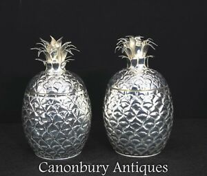 Pair Pineapple Champagne Buckets Silver Plate Wine Cooler Holders
