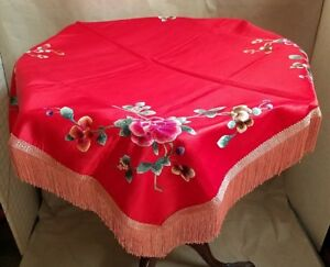 Beautiful Antique Chinese Silk Embroidered Table Shawl Scarf Lined Fringed