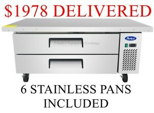 60 Inch Extended Top 5 Foot Wide Chef Base Refrigerated Work Top Station Drawers