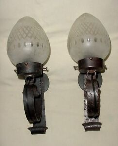 Old Pair Handforged Iron Wall Sconces W Frosted Crystal Cut Glass Globes Wired