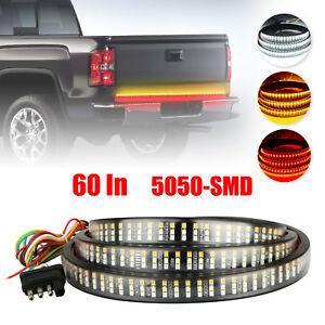 60 In 3 row 504 Led Truck Tailgate Side Bed Light Strip Bar Reverse Stop Signal