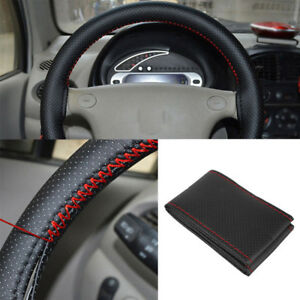 Black Red Pu Leather Diy Car Steering Wheel Cover 38cm With Needle And Thread