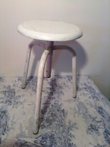 Vintage French Height Adjustable Metal Machinist Style Stool 3304
