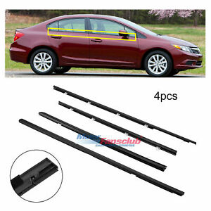 4pcs Car Door Belt Molding Trim Weatherstrip For 12 15 Honda Civic 2012 2015 New